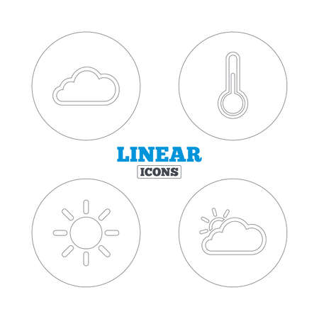 hotness: Weather icons. Cloud and sun signs. Thermometer temperature symbol. Linear outline web icons. Vector Illustration