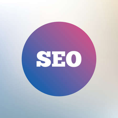 meta analysis: SEO sign icon. Search Engine Optimization symbol. Icon on blurred background. Vector