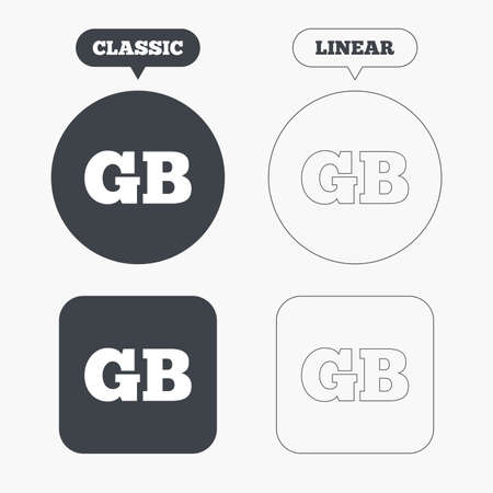 British language sign icon. GB Great Britain translation symbol. Classic and line web buttons. Circles and squares. Vector Illustration