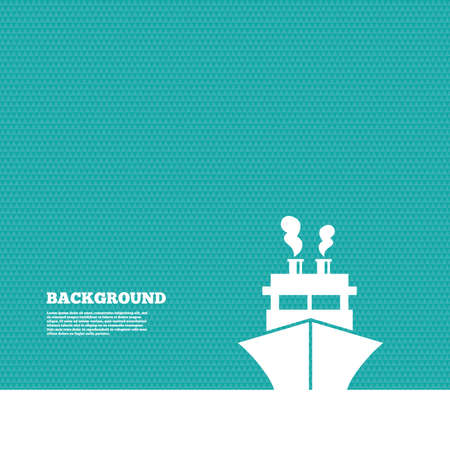 ship sign: Background with seamless pattern. Ship or boat sign icon. Shipping delivery symbol. Triangles green texture. Vector Illustration
