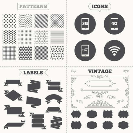 wi: Seamless patterns. Sale tags labels. Mobile telecommunications icons. 3G, 4G and LTE technology symbols. Wi-fi Wireless and Long-Term evolution signs. Vintage decoration. Vector Illustration
