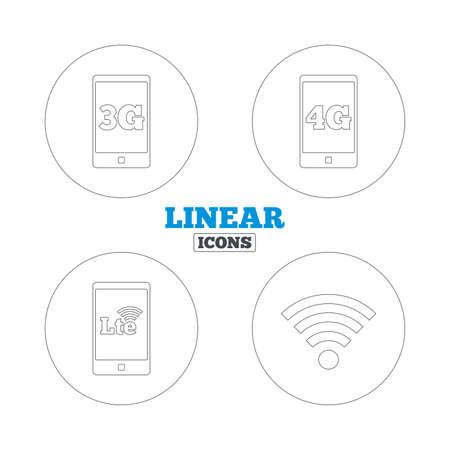 3g: Iconos m�viles de telecomunicaciones. 3G, 4G y tecnolog�a LTE s�mbolos. Wi-fi a Internet inal�mbrico y signos evoluci�n a largo plazo. Iconos de la web de contorno lineales. Vector Vectores