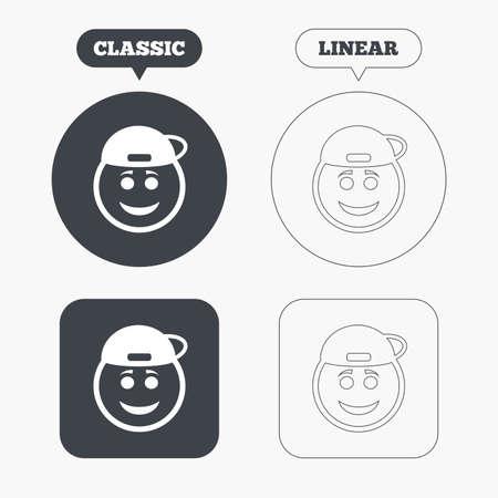 rapero: Sonrisa rapero signo icono de la cara. Smiley feliz con el s�mbolo de peinado de chat. Botones Cl�sico y l�nea web. C�rculos y cuadrados. Vector