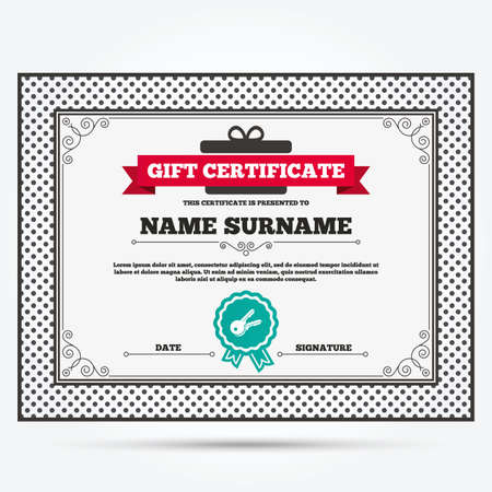 tool unlock: Gift certificate. Keys sign icon. Unlock tool symbol. Template with vintage patterns. Vector