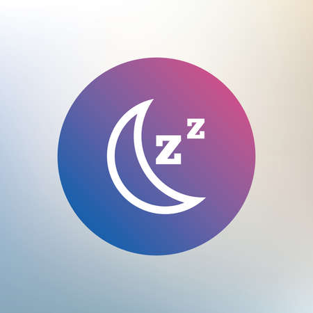 standby: Sleep sign icon. Moon with zzz button. Standby. Icon on blurred background. Vector Illustration