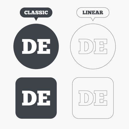 deutschland: German language sign icon. DE Deutschland translation symbol. Classic and line web buttons. Circles and squares. Vector