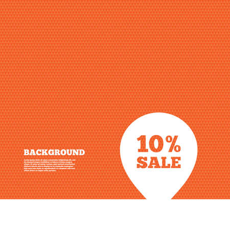 orange texture: Background with seamless pattern. 10% sale pointer tag sign icon. Discount symbol. Special offer label. Triangles orange texture. Vector Illustration