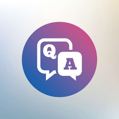 qa: Question answer sign icon. Q&A symbol. Icon on blurred background. Vector
