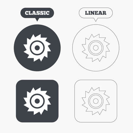 cutting blade: Saw circular wheel sign icon. Cutting blade symbol. Classic and line web buttons. Circles and squares. Vector Illustration