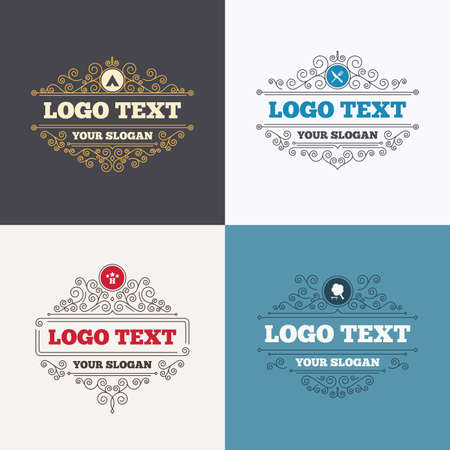 break down: Flourishes calligraphic emblems. Food, hotel, camping tent and tree icons. Knife and fork. Break down tree. Road signs. Luxury ornament lines. Vector Illustration