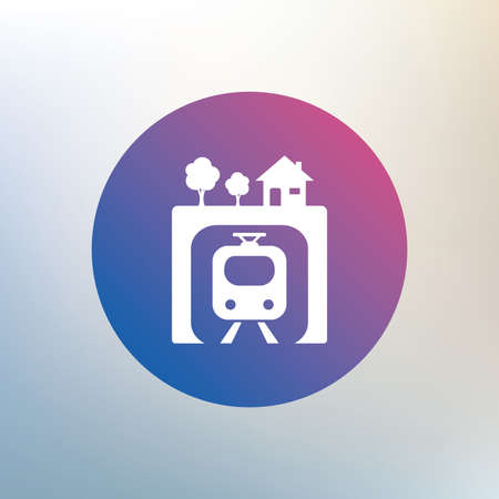 metro train: Underground sign icon. Metro train symbol. Icon on blurred background. Vector