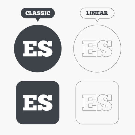 vector es: Spanish language sign icon. ES translation symbol. Classic and line web buttons. Circles and squares. Vector Illustration
