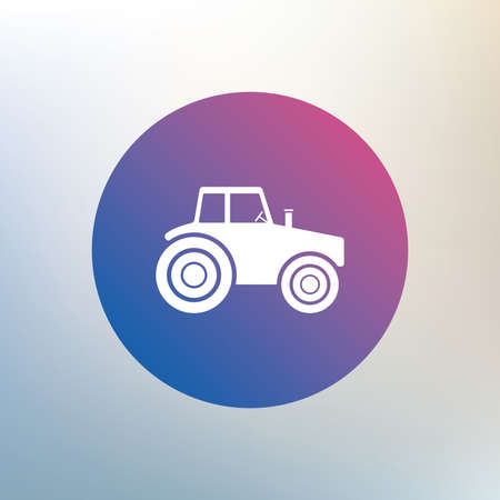 tractor sign: Tractor sign icon. Agricultural industry symbol. Icon on blurred background. Vector