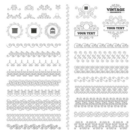 jalousie: Vintage ornaments. Flourishes calligraphic. Louvers icons. Plisse, rolls, vertical and horizontal. Window blinds or jalousie symbols. Invitations elements. Vector