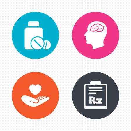 symbol hand: Kreis-Schaltfl�chen. Medizin Symbole. Medizinische Tabletten Flasche, Kopf mit Gehirn, Vorschrift Rx Zeichen. Pharmazie oder Medizin-Symbol. Hand h�lt Herz. Nahtlose Quadrate Textur. Vektor Illustration