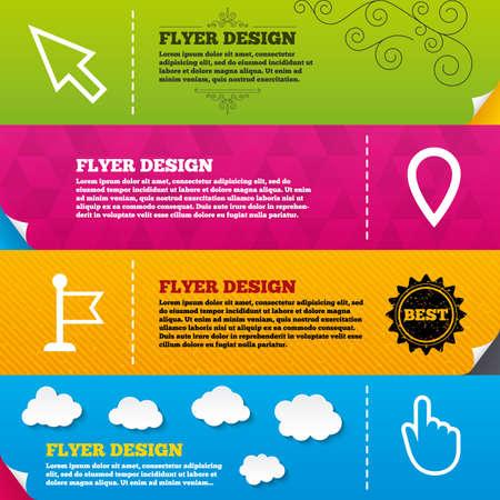 click here: Flyer brochure designs. Mouse cursor icon. Hand or Flag pointer symbols. Map location marker sign. Frame design templates. Vector Illustration