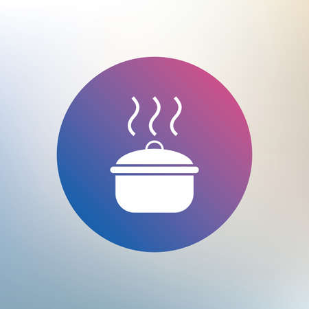 stew pan: Cooking pan sign icon. Boil or stew food symbol. Icon on blurred background. Vector