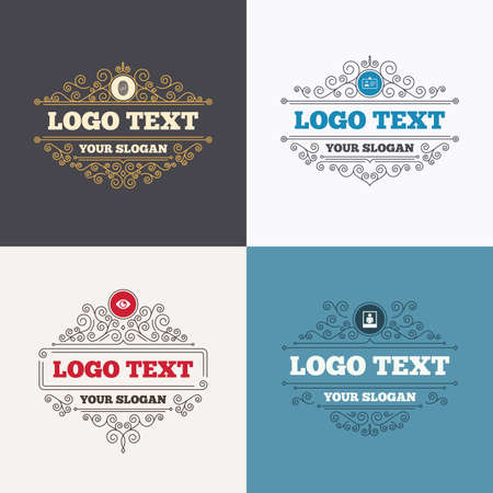 nametag: Flourishes calligraphic emblems. Identity ID card badge icons. Eye and fingerprint symbols. Authentication signs. Photo frame with human person. Luxury ornament lines. Vector Illustration