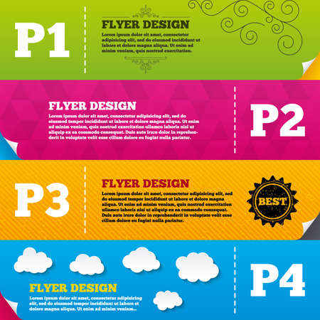 second floor: Flyer brochure designs. Car parking icons. First, second, third and four floor signs. P1, P2, P3 and P4 symbols. Frame design templates. Vector Illustration