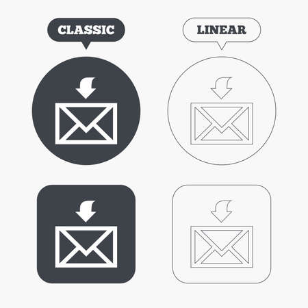 receive: Mail receive icon. Envelope symbol. Get message sign. Mail navigation button. Classic and line web buttons. Circles and squares. Vector