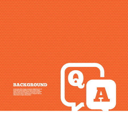 qa: Background with seamless pattern. Question answer sign icon. Q&A symbol. Triangles orange texture. Vector
