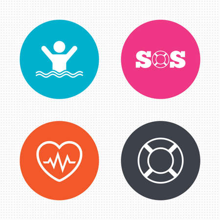 drowns: Circle buttons. SOS lifebuoy icon. Heartbeat cardiogram symbol. Swimming sign. Man drowns. Seamless squares texture. Vector