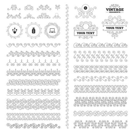 ultrabook: Vintage ornaments. Flourishes calligraphic. Usb flash drive icons. Notebook or Laptop pc symbols. CD or DVD sign. Compact disc. Invitations elements. Vector Illustration