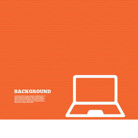 ultrabook: Background with seamless pattern. Laptop sign icon. Notebook pc symbol. Triangles orange texture. Vector Illustration