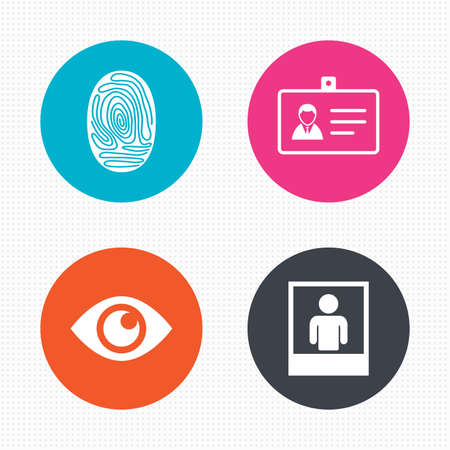 authentication: Circle buttons. Identity ID card badge icons. Eye and fingerprint symbols. Authentication signs. Photo frame with human person. Seamless squares texture. Vector