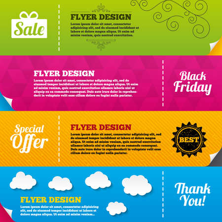 you are special: Flyer brochure designs. Sale icons. Special offer and thank you symbols. Gift box sign. Frame design templates. Vector Illustration