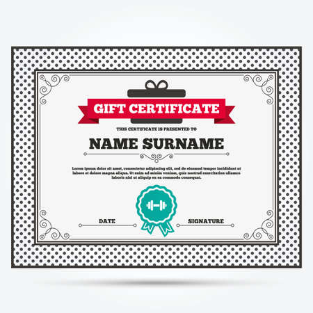 Gift Certificate Bowling Ball Sign Icon Bowl Symbol Template