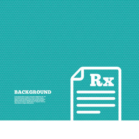 rx: Background with seamless pattern. Medical prescription Rx sign icon. Pharmacy or medicine symbol. Triangles green texture. Vector