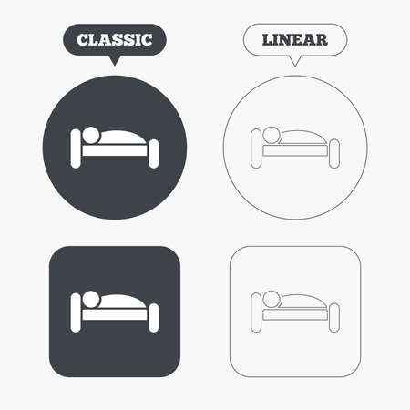 sleeper: Human in bed sign icon. Travel rest place. Sleeper symbol. Classic and line web buttons. Circles and squares. Vector