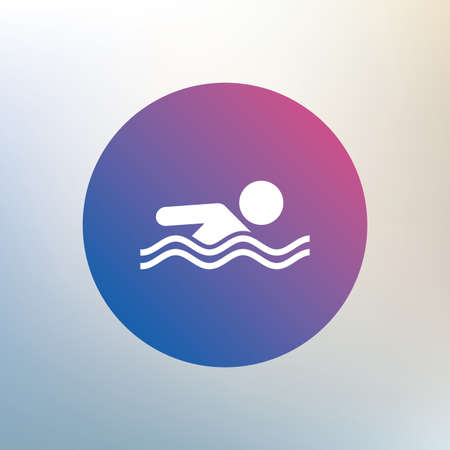 pool symbol: Swimming sign icon. Pool swim symbol. Sea wave. Icon on blurred background. Vector Illustration