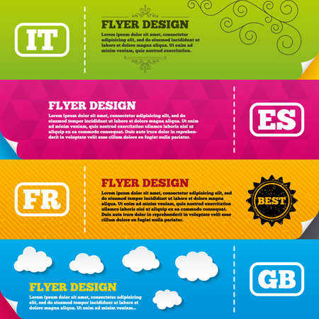 Flyer brochure designs. Language icons. IT, ES, FR and GB translation symbols. Italy, Spain, France and England languages. Frame design templates. Vector