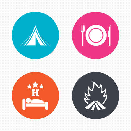 breakfast in bed: Circle buttons. Food, sleep, camping tent and fire icons. Knife, fork and dish. Hotel or bed and breakfast. Road signs. Seamless squares texture. Vector Illustration