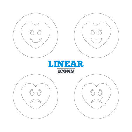 happy sad: Heart smile face icons. Happy, sad, cry signs. Happy smiley chat symbol. Sadness depression and crying signs. Linear outline web icons. Vector