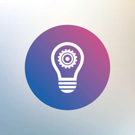 idea symbol: Light lamp sign icon. Bulb with gear symbol. Idea symbol. Icon on blurred background. Vector