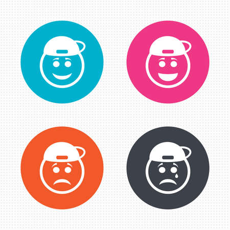 happy face: Circle buttons. Rapper smile face icons. Happy, sad, cry signs. Happy smiley chat symbol. Sadness depression and crying signs. Seamless squares texture. Vector Illustration