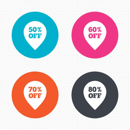 60 70: Circle buttons. Sale pointer tag icons. Discount special offer symbols. 50%, 60%, 70% and 80% percent off signs. Seamless squares texture. Vector Illustration
