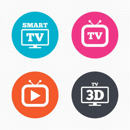 3d mode: Circle buttons. Smart 3D TV mode icon. Widescreen symbol. Retro television and TV table signs. Seamless squares texture. Vector