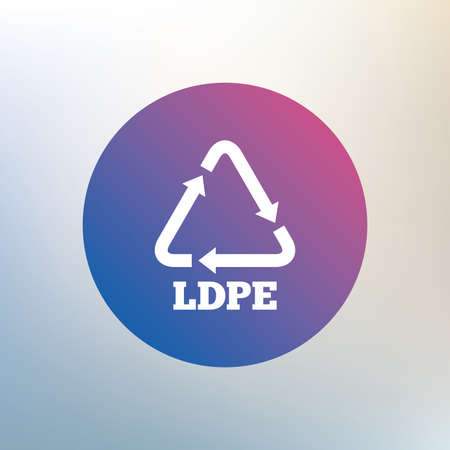 monomer: Ld-pe icon. Low-density polyethylene sign. Recycling symbol. Icon on blurred background. Vector Illustration