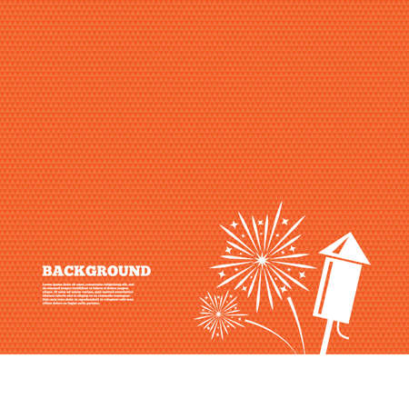 pyrotechnic: Background with seamless pattern. Fireworks with rocket sign icon. Explosive pyrotechnic symbol. Triangles orange texture. Vector Illustration
