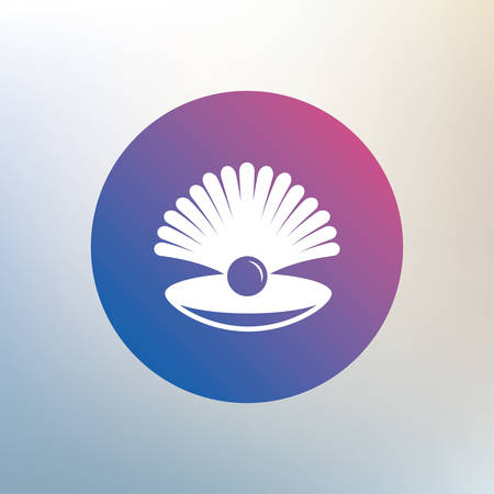 conch shell: Sea shell with pearl sign icon. Conch symbol. Travel icon. Icon on blurred background. Vector