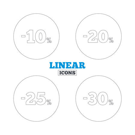 20 to 25: Sale discount icons. Special offer price signs. 10, 20, 25 and 30 percent off reduction symbols. Linear outline web icons. Vector