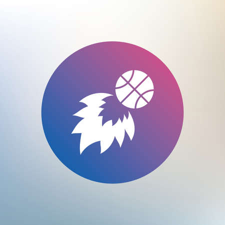 fireball: Basketball fireball sign icon. Sport symbol. Icon on blurred background. Vector