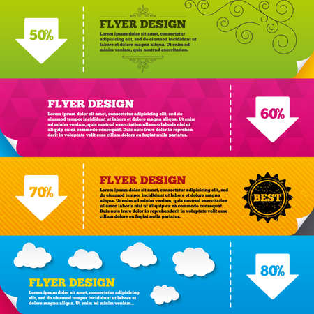 60 70: Flyer brochure designs. Sale arrow tag icons. Discount special offer symbols. 50%, 60%, 70% and 80% percent discount signs. Frame design templates. Vector Illustration