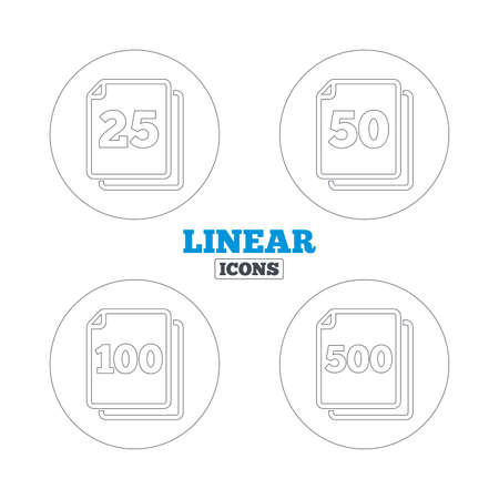 quantity: In pack sheets icons. Quantity per package symbols. 25, 50, 100 and 500 paper units in the pack signs. Linear outline web icons. Vector