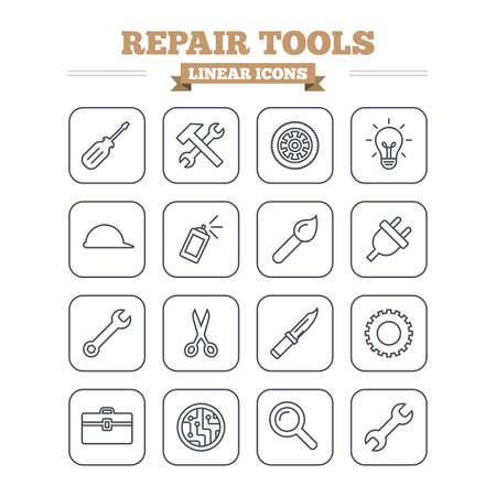 plug hat: Repair tools linear icons set. Hammer with wrench key, wheel and brush. Screwdriver, electric plug and scissors. Circuit board, magnifying glass and construction helmet. Thin outline signs. Flat square vector Illustration