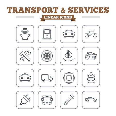public services: Transport and services linear icons set. Ship, car and public bus, taxi. Repair hammer and wrench key, wheel and cogwheel. Sailboat and bicycle. Thin outline signs. Flat square vector